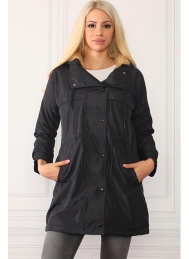 Dewberry Kapüşonlu Polyesterli Düğmeli Cepli Kadın Mont Siyah